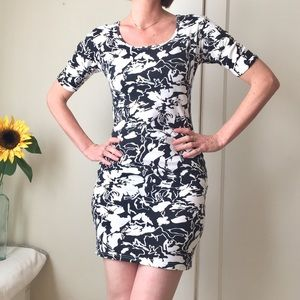 abstract tropical summer bodycon dress MED